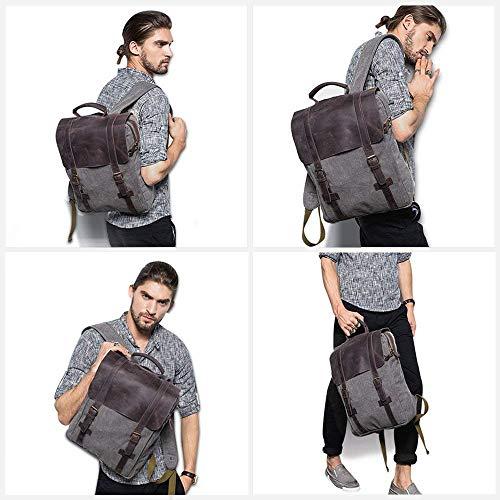 sac à dos homme toile canvas et cuir ordinateur 15 pouces
