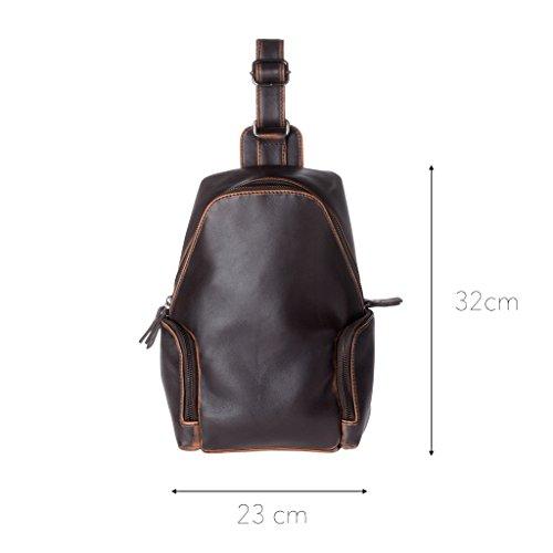 Dimensions du sac à dos en cuir bretelle unique de chez Dudu pour homme