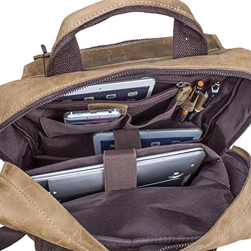 Intérieur ultra compartimenté pour ce sac à dos en cuir pour homme multi poches S-Zone, look musée Beaubourg