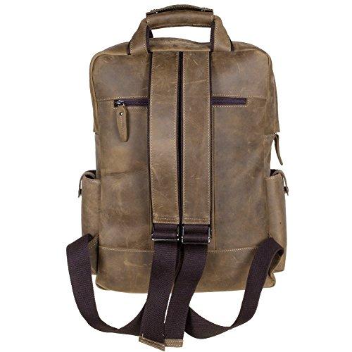Bretelles ajustables du sac à dos en cuir pour homme multi poches S-Zone, look musée Beaubourg