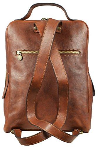 Fermeture zippée arrière du sac à dos homme en cuir de chez Time Résistance