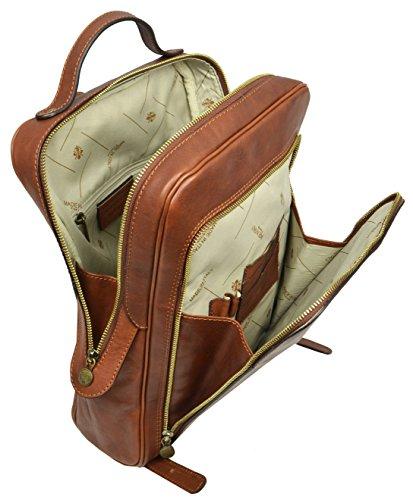 Intérieur luxe pour ce sac à dos homme en cuir de chez Time Résistance