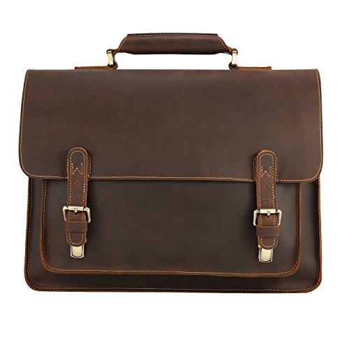 sac cartable cuir huilé vintage marron serviette business homme ordinateur 15 pouces avec bandoulière sac cartable Kattee