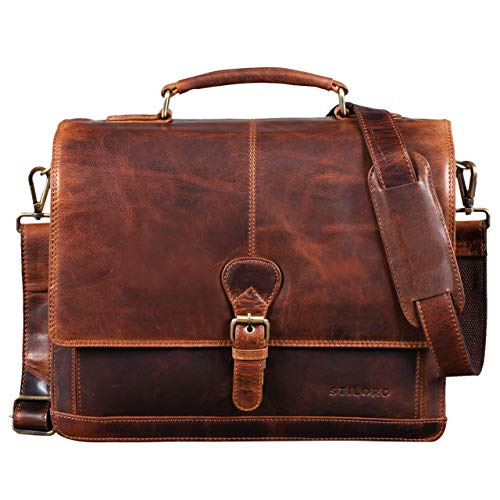 Sac cartable en cuir cognac Stilord pour ordinateur Macbook