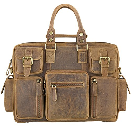 Sac cartable en cuir vintage Stilord au look original multipoches