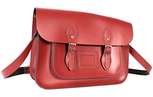 sac cartable satchel cuir rouge vernis, Oxbridgfe satchel, look étudiante, sac de ville femme, 35X10X23 cm