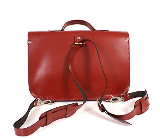 sac cartable satchel cuir rouge bordeaux brillant, Oxbridge satchel, look étudiante ou lycéenne, sac de ville femme, 38X12X25 cm, cartable satchel cuir rouge femme ou jeune fille avec bretelles