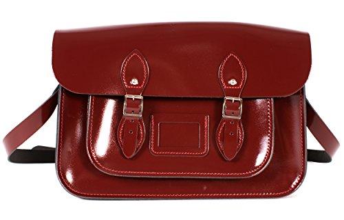 sac cartable satchel cuir rouge bordeaux brillant vernis, Oxbridgfe satchel, look étudiante ou lycéenne, sac de ville femme, 35X10X23 cm