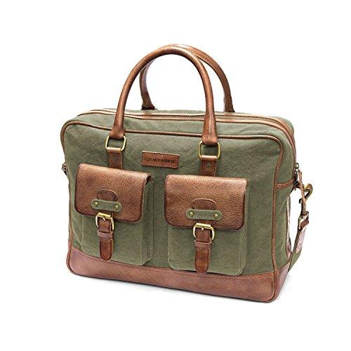 Sacoche ordinateur pour prof ou pour professionnel en cuir et toile, vert et cognac, esprit vintage et old school.