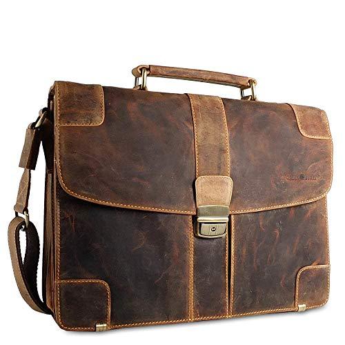 Espace intérieur bien organisé avec toutes ces poches à zip, pour les hommes ou femmes bien ordonnés. Sacoche cuir vintage mixte Greenburry.