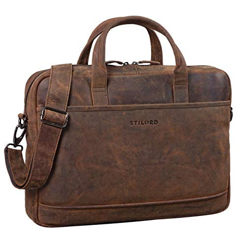 Sac ordinateur business avec bandoulière contemporain en cuir marron Stilord pour laptop