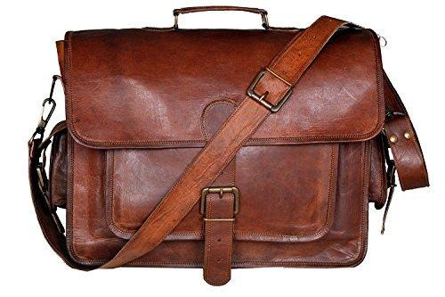 Sacoche vintage et rustique en cuir de chèvre, doublure textile, taille M Sacoche vintage mixte.