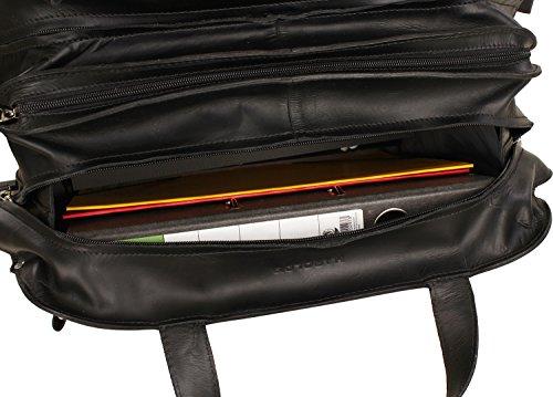 Intérieur chic de la valise pilote en cuir brun Harold's avec compartiment laptop 15 pouces.