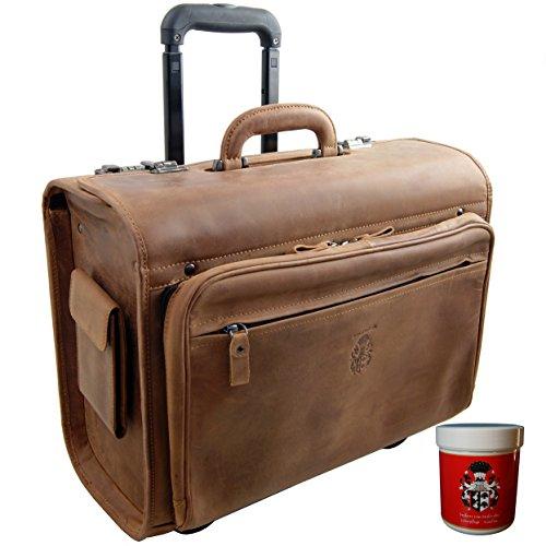 La valise pilote en cuir marron vintage Baron de Maltzahn. Valise pilote au look rétro et intemporel avec son cuir marron vintage et ses poches latérales. Design intelligent, un vrai plaisir pour tous les professionnels qui voyagent. Environ 350€.